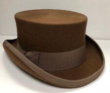VINTAGE Wool Felt Coachman Top Hat Men Tuxedo Victorian Topper   57cm   Brown