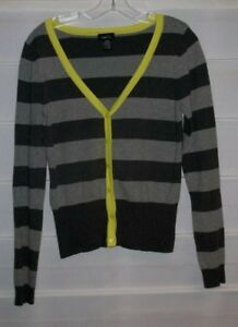 Rue 21 Two Tone Gray Striped Lime Green Accent Sweater Juniors Large EC!