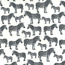 ZEBRA BLACK 100% Cotton Fabric, Sewing, Crafts, (CP0461 BLACK)