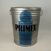 Vtg Primex Pure Vegetable Shortening Advertising Tin Can Container, 110# 16x20