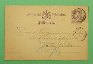 DR WHO 1884 WURTTEMBERG GERMANY POSTAL CARD BLAUFELDEN CANCEL C243572