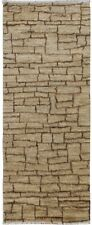 Geometric Modern Natural Color Moroccan Shaggy 8 ft Runner Rug Wool 7' 9 x 2' 7