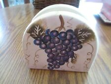 Table Top Unlimited Cabernet Hand Painted Grapes on the Vine Napkin Holder