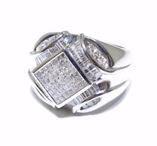 Mens 14k White Gold Round / Princess / Baguette Cut 2.40ct White Diamond Ring