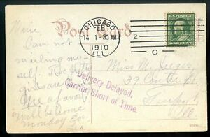 """U.S. Scott 331 on 1910 Post Card w/""""Delivery Delayed Carrier Short of Time"""" Mark"""