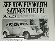 1937 Plymouth ad, Sedan, gas pumps, service station