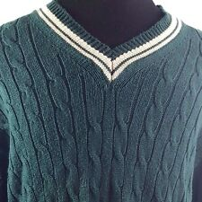 LL Bean Dark Green Heavy V Neck Cable Knit Sweater Men's Large Tall LT Cotton