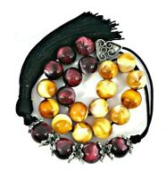 Komboloi/ worry beads with red & yellow marble colored beads and silver details