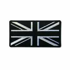 """Embroidered 3"""" British UK Flag Black and White Iron on Patch Biker Patch"""