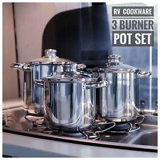 RV POT SET Cookware  - caravan motorhome - suits 3 burner stove Smev Dometic
