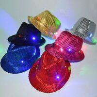 Light Up Led Fedora Trilby Sequin Unisex Fancy Dress Dance Hat Party G1A4