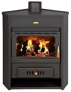 Wood Burning Stove Corner Model Fireplace Log Burner Solid Fuel Prity 12kw