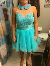 prom, wedding, formal dress by Sherri Hill size 8 worn 1x turquoise/nude short