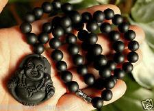 "Black Onyx Happy buddha Carving Pendant Necklace 18"""