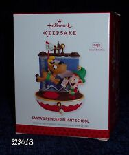 2013 Hallmark SANTA'S REINDEER FLIGHT SCHOOL Magic Ornament with Sound & Motion