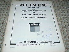 Oliver White Tractor UBO UBOX Spike Tooth Harrows Operator's Manual