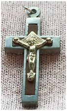 Antique French 1920's  Wood & 2 Tone Metal  Crucifix,  1 .5 X .75 Inch