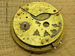 Antique Pocket Watch Movement Fusee Ia Clare & Son Dial Plate Diameter 44.1mm