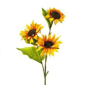 Artificial Silk Sunflower Flower Spray - Golden Yellow (Style 1)