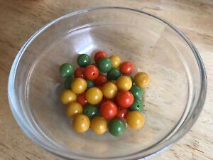 36 Bakelite 9mm Yellow, Orange And Green Beads W/Holes