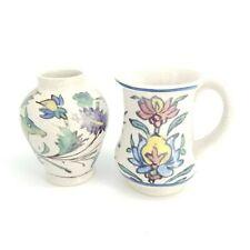 Pottery Barn Iznik Set Crackleware Crazed Antiqued Vase Stag Deer Birds Flowers