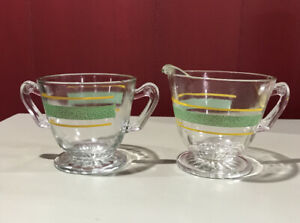 Vintage Clear Glass Sugar Bowl and Creamer Set - green & yellow - Kent Glass