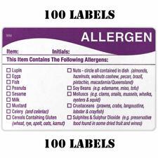 100 x FOOD ALLERGEN ALLERGY WARNING ALERT SAFETY STICKER/LABEL 100 LABELS FSA