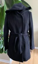 marc new york andrew marc Black Wool Blend Lined Hooded Belted Coat Size 10