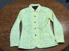 WOMENS USED BARBOUR LIGHT YELLOW BUTTON UP QUILTED OUTDOOR JACKET SIZE 4
