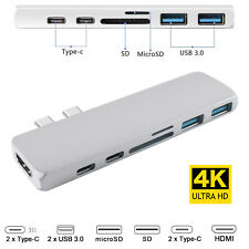 USB-C Hub 7in1 Dual Type-C Multiport Card Reader Adapter 4K HDMI For MacBook Pro