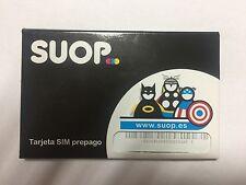 Tarjeta SIM/Micro/Nano de Prepago SUOP 5€ de Saldo. ACTIVELA USTED MISMO