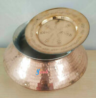 Copper Hammered Biryani Handi Cooking Pot With Lid 5 L Degchi With Tin Polished