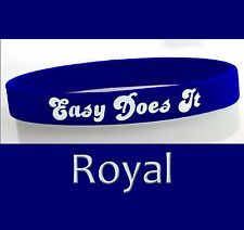 """""""Easy Does It"""" 12 Step Recovery Program Silicone Wristband/Royal"""