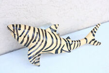 Shark Fish Figure Decor Placque Zebra Tiger Old Nautical Beach Marine Shelf Ya