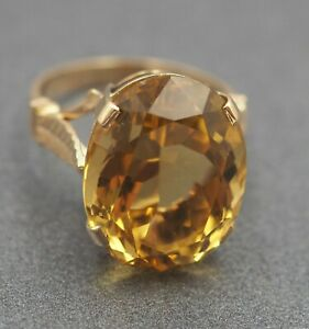 Womens Ring 9ct Gold & Yellow Citrine Handmade Fine Fashion Dress Cocktail