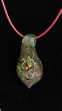"""17"""" Red lung Verde Glitter Motivo Cravatta Murano Glass Vetro di Murano Collana * OFFERTA *"""