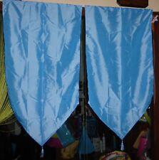 Paire de vitrage / rideau droit en pointe satiné bleu - 60 cm X 115 cm