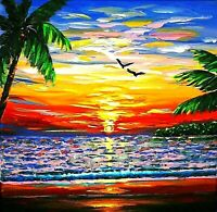 Quality Original Acrylic painting Modern Realism  Tropical  Sea Sunset Art