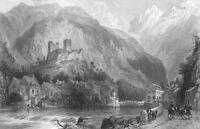 PYRENEES SAINT BEAT CHATEAU CASTLE GARONNE RIVER ~ Old 1865 Art Print Engraving