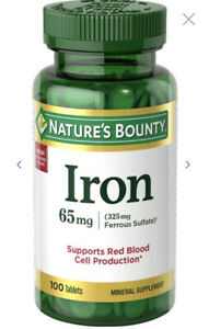 Nature's Bounty Iron Tablets, 65mg 100 ct Supports Red Blood Cell Production