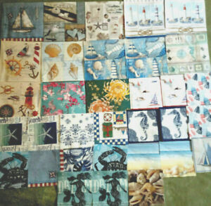 33 Paper Napkins Art, Decoupage, Crafts ~ Nautical, Shells, Boats, Water, Floral