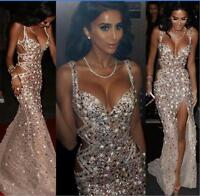 Luxury Crystals Beaded Mermaid Evening Birthday Party Dress Prom Celebrity Gown
