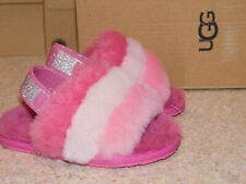 NEW TODDLER SIZE 6 PINK UGG FLUFF YEAH SLIDE GLITTER & STRIPES SLIPPERS 1116911T