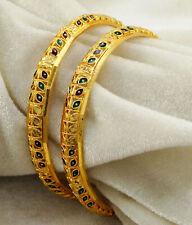 Goldplated Traditional 2Pc Kada Bangle Set Indian Jewelry IRJMBG-BSG7B-PAR