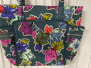 🌿🍁VERA BRADLEY Iconic Deluxe Small Vera Tote Bag FALLING FLOWERS Quilted $98