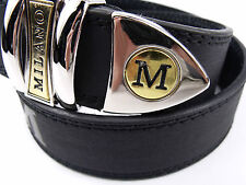 "EXTRA-LARGE BLACK MEN'S QUALITY LEATHER BELT BY MILANO WAIST 40"" -44"" Wide 1.5"""