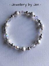 TRAMA GROSSA ARGENTO PLACCATO Cristallo SWAROVSKI SATINATA perline fatto a mano Stretch Bracciale 💜