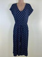 Navy blue polka dot spotty stretch jersey culotte jumpsuit size 8 petite euro 36