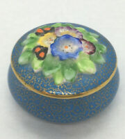 Vintage Miniature Trinket BOX - FLORAL - Tuscan Fine English PORCELAIN ,numbered
