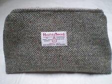HARRIS TWEED FABRIC WASH BAG - HAND MADE- BROWN/BEIGE HERRINGBONE